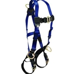 FallTech 70182X Contractor Full Body Harness with 3 D-Rings and Tongue Buckle Leg Straps, Universal Fit